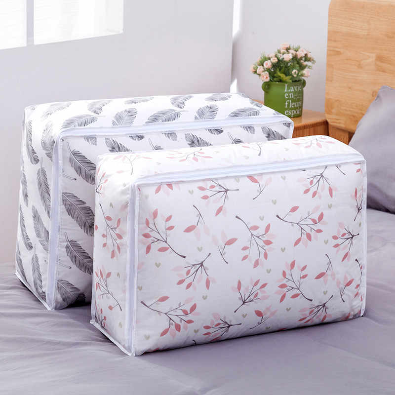 2019 new Non-woven Portable Clothes Storage Bag Organizer  Foldable Two Size Of  Storage Bag For Pillow Blanket Bedding New