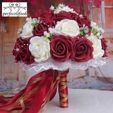 Perfectlifeoh bruidsboeket Handgemaakte Bloemen Decoratieve Kunstmatige Rose Bloemen Parels Bruid Bridal Accenten Bruidsboeketten