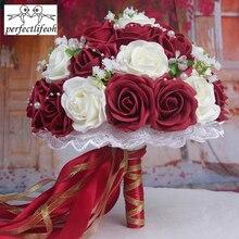 Perfectlifeoh buquê de casamento flores artesanais decorativas rosas artificiais pérolas noiva acentos casamento buquês