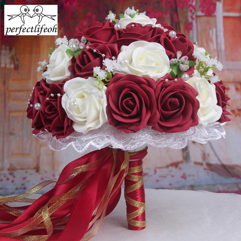perfectlifeoh wedding bouquet  Handmade Flowers Decorative Artificial Rose Flowers Pearls Bride Bridal Accents Wedding Bouquets