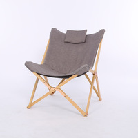 Modern Folding Butterfly Chair Portable Solid Wood Outdoor Balcony Beach Butterfly Chair Leisure Chair Camping Chair Foldable