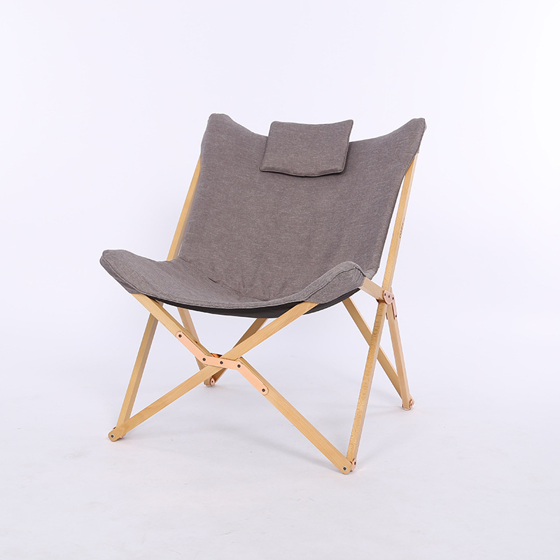 Modern Folding Butterfly Chair Portable Solid Wood Outdoor Balcony Beach Butterfly Chair Leisure Chair Camping Chair Foldable camouflage outdoor comfortable folding fishing chair breathable moon chair leisure chair butterfly chair