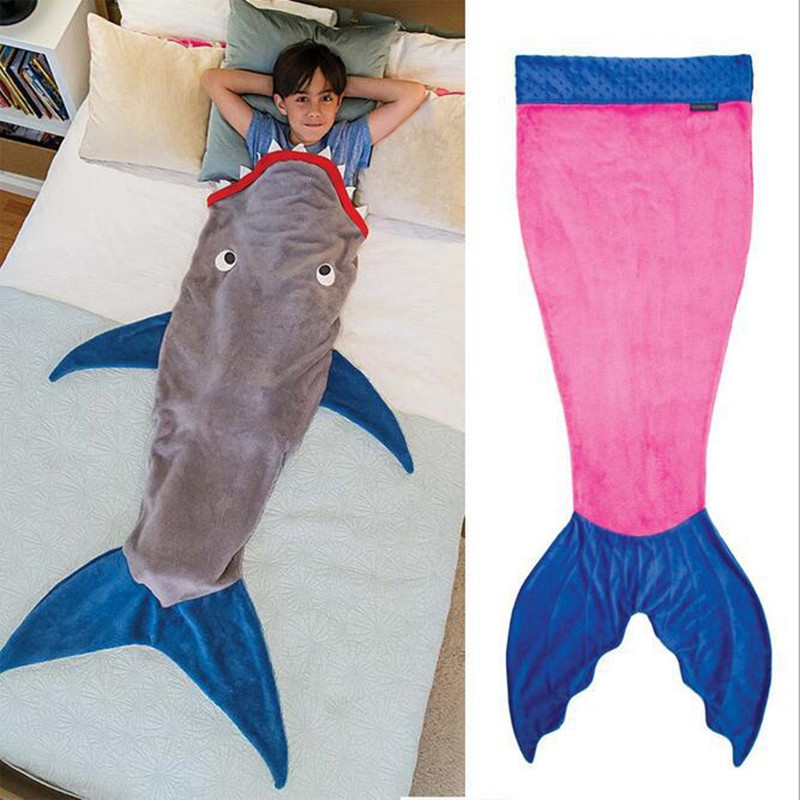 0-12 Ages Velvet Winter Mermaid Baby Sleeping Bag Soft Fish Tail Anti Tipi Blanket Kids Boy Girl Totoro Sleeping Bag