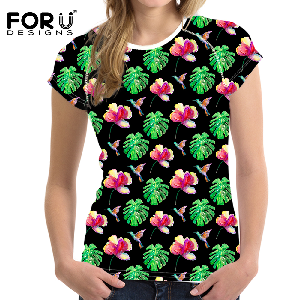 FORUDESIGNS Hawaii T shirt for Women Fashion Ladies Summer Breathable Coconut Tree Tshirt Casual Slim Tee Shirts Clothes Tops in T Shirts from Women 39 s Clothing