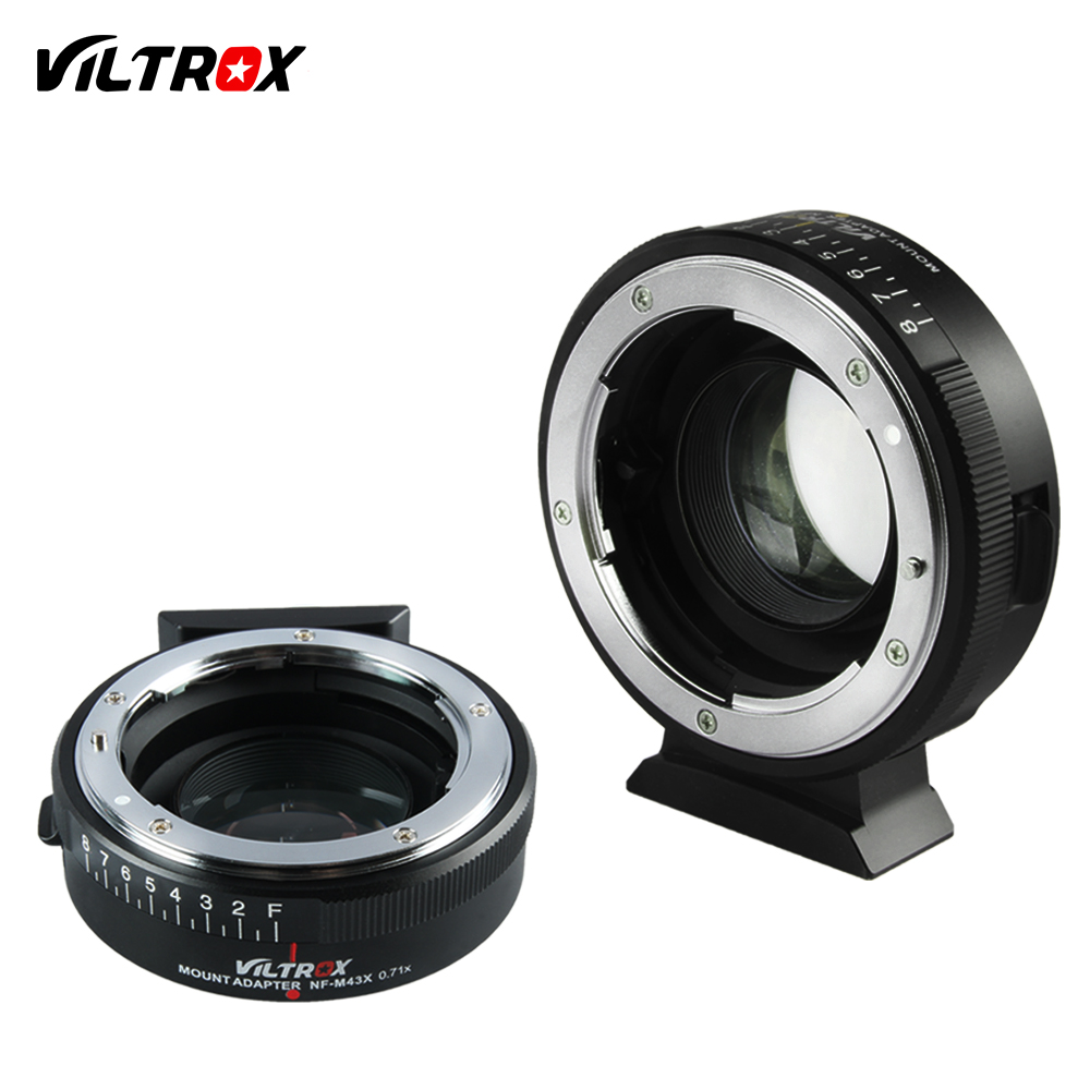 Viltrox Focal Reducer Speed Booster Adapter Turbo w/ Aperture Ring for Nikon Lens to M4/3 camera GH4 GH5 GF6 GX7 E-PL7 EM5 OM-D