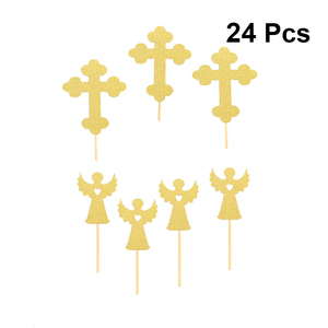 Image 2 - 24pcs Cross And Angel Shaped Cake Topper Paper Cake Picks Cupcake Toppers Decorations Topper Decor Baby Shower Party Supplies