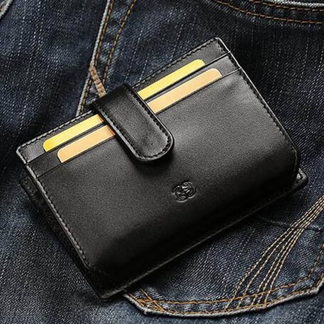 Genuine Leather Men Card Holder Wallets Small High Quality Female Pillow Purse Fashion Driver License Holder ID Card Case Q8107