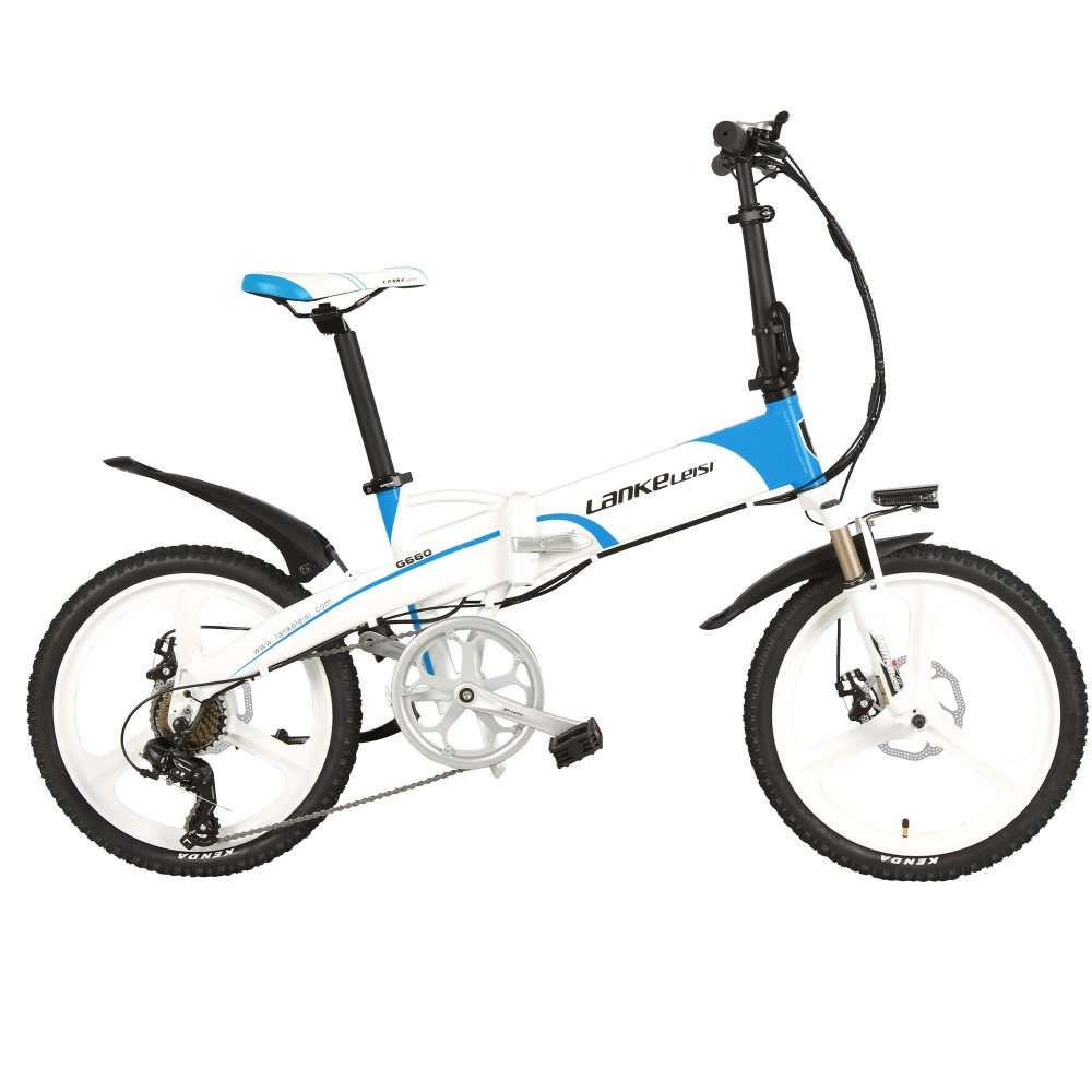 Lankeleisi G660 Electric Bike Folding Bicycle City Ebike 7 Speeds 48V 10AH Battery Road Bike(black blue)