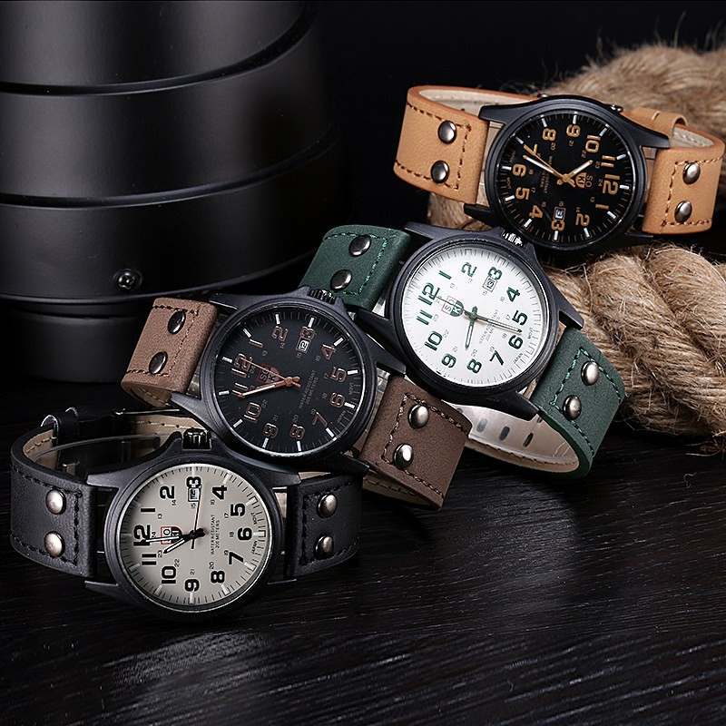 Military Watches Sport Calendar Clock Business Hours Corium Quartz Complete Men Dropship