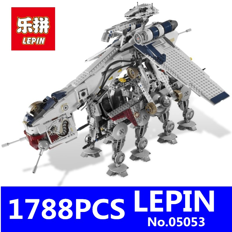 LEPIN 05053 1788pcs Star Series Wars Republic Dropship with AT-OT Walker Building Blocks Bricks Set Compatible 10195 Toys lepin sets star wars figures 1788pcs 05053 republic dropship with at ot walker model building kits blocks bricks kids toys 10195