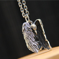 Vintage 925 Sterling Silver Punk Ethnic Evil Spiritual Crow Pendant For Women Necklaces Chic Jewelry