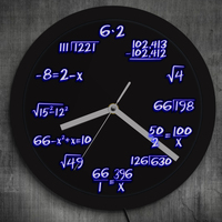 1Piece Math Formula Pop Equation Neon Luminous Wall Clock Scicence Math Wall Clock Wall Watch With Color Changing For Math Lover