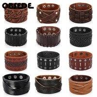 OBSEDE-pulsera ancha de cuero genuino para hombre, brazalete ancho marrón, Vintage, Punk, regalo de joyería