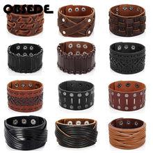 Oblugar pulseira de couro genuíno masculina, grande pulseira de couro para homens punk marrom pulseiras e braceletes de presente das joias masculinas vintage