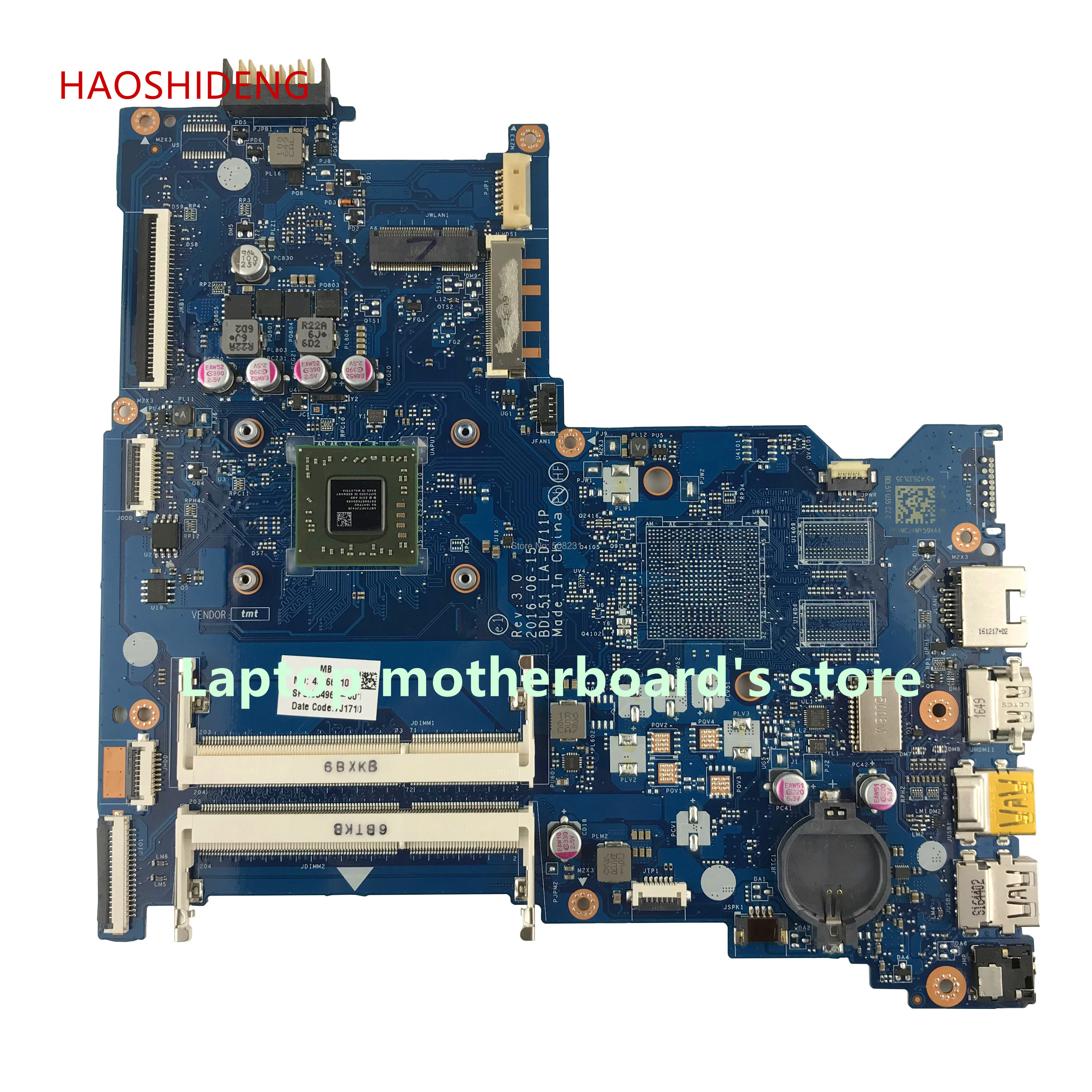 HAOSHIDENG 854961-601 BDL51 LA-D711P mainboard for HP NOTEBOOK 15-BA 15Z-BA 15-BA057NR motherboard with A8-7410 fully Tested haoshideng 856765 601 856765 001 448 08g03 0011 mainboard for hp notebook 17 y 17z y 17 y088cl laptop motherboard with a8 7410