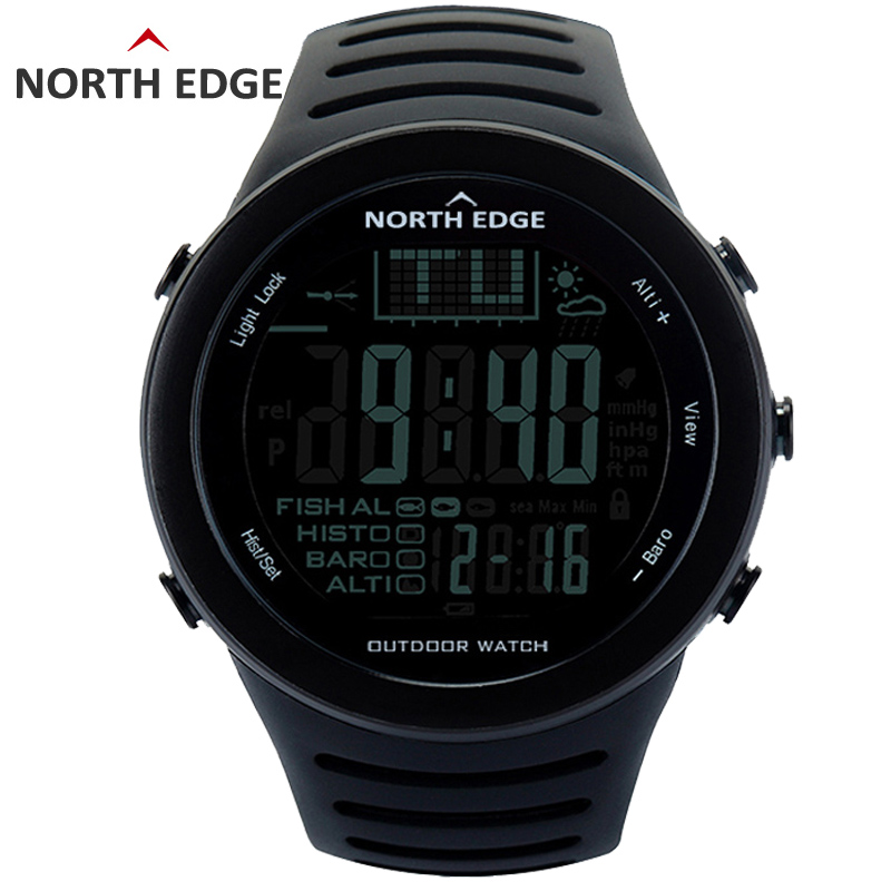 NORTH EDGE Fishing Altimeter Barometer Thermometer Altitude Men Smart Digital Watches Sports Climbing Hiking Clock Montre Homme ezon multifunction sports watch montre hiking mountain climbing watch men women digital watches altimeter barometer reloj h009