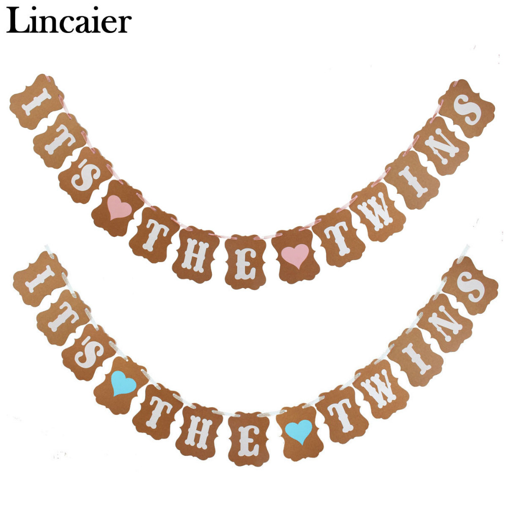 Lincaier ITS THE TWINS Kraft Paper Banner Baby Shower Boy Girl Party Decorations Christening Favors Supplies