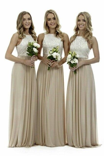 Elegant High Neck Champagne Long Bridesmaid Dresses Lace Chiffon 2017 Best Ing Gowns Vestidos De