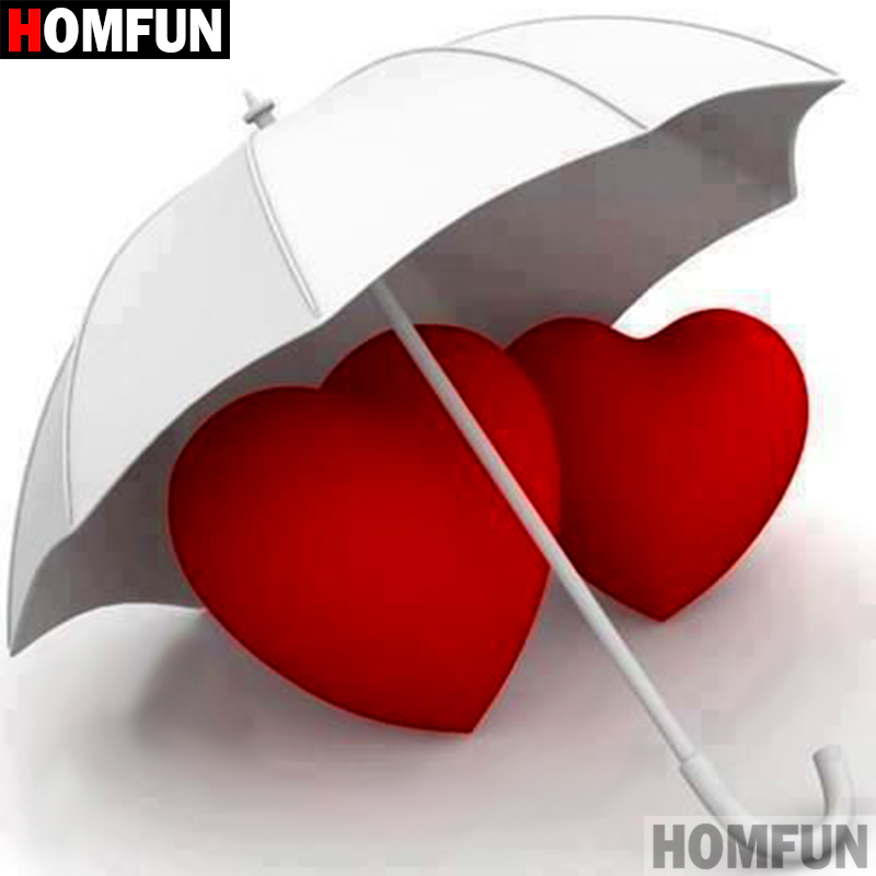 HOMFUN 5D DIY Diamond Painting Full Square Round Drill quot Umbrella heart quot 3D Embroidery Cross Stitch gift Home A08731 in Diamond Painting Cross Stitch from Home amp Garden
