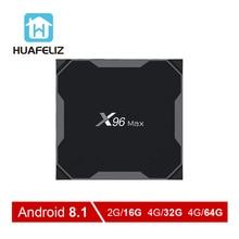 X96Max Smart tv BOX Android 8,1 ТВ коробка X96 MAX Amlogic S905X2 четырехъядерный 4GB64GB 2,4 г и 5 ГГц Wifi BT 1000 м 4 к X96Max приставка