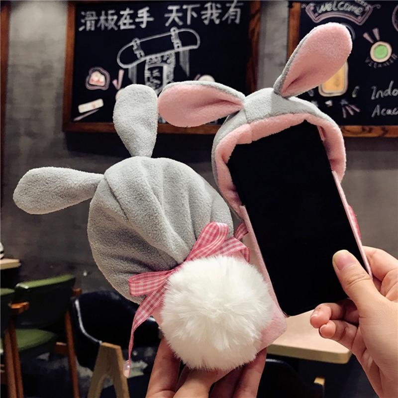 Cartoon Iphone 7 Case Cover 3D Cartoon Rabbit Ears Pompon Ball Hat Phone Iphone X 6 6S Plus 7 7Plus 8 8Plus