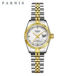 26 milímetros Parnis Relógio Mecânico de Luxo Senhoras Relógios das Mulheres Strass Reais Pulseira de Aço Inoxidável Movimento Japão com Calend