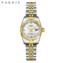 26mm Parnis Womens Watch Luxury Mechanical Ladies Watches Royal Rhinestones Stainless Steel Japan Movement Bracelet with Calend