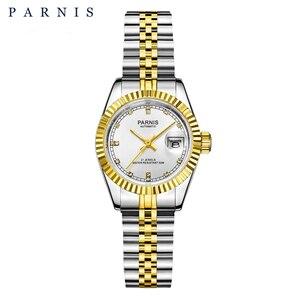 Image 1 - 26mm Parnis frauen Uhr Luxus Mechanische Damen Uhren Royal Strass Edelstahl Japan Bewegung Armband mit Calend