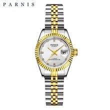 26mm parnis 여성용 시계 고급 기계식 숙녀 시계 로얄 라인 석 스테인레스 스틸 일본 운동 팔찌 캘린더