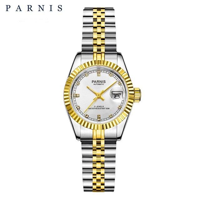 Reloj Parnis de 26mm para mujer, relojes mecánicos de lujo para mujer, diamantes de imitación reales de acero inoxidable, brazalete con movimiento japonés con Calend