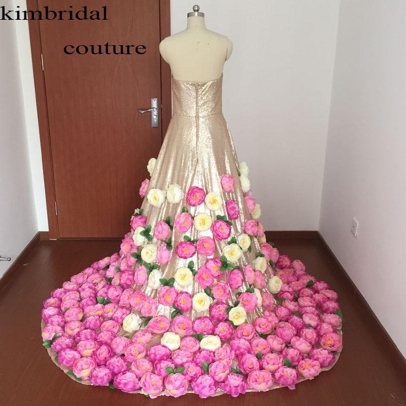 Arabie saoudite robes de soirée robes longueur de plancher sans bretelles décolleté paillettes faites à la main fleurs 3D une ligne or robes de bal arabe - 2