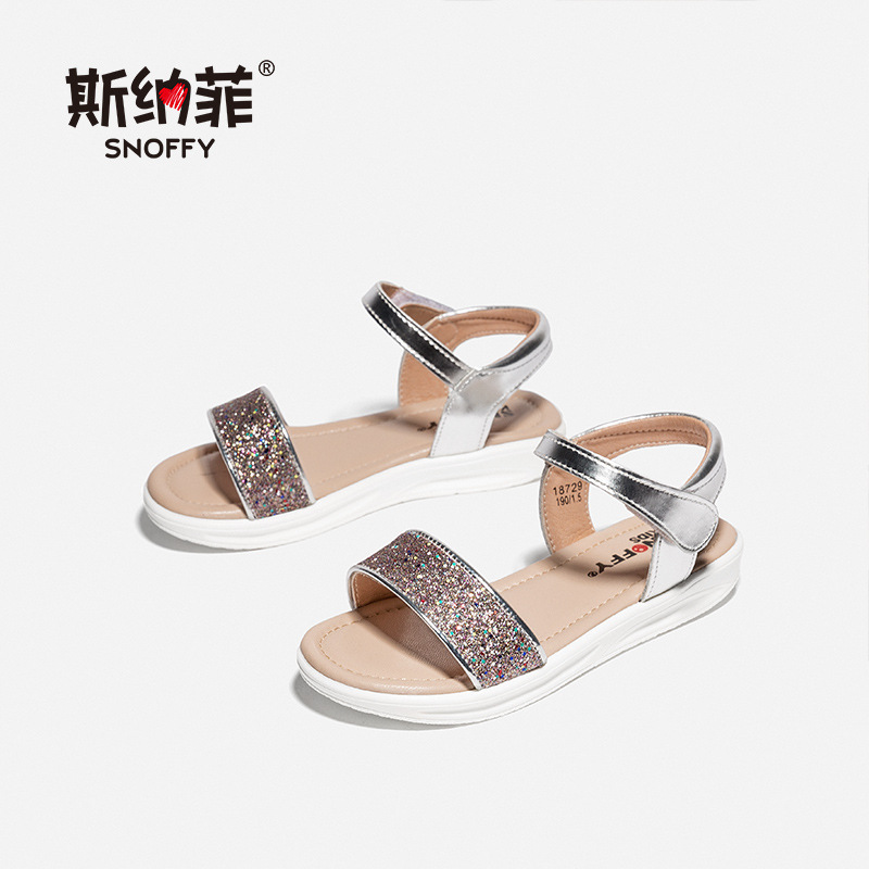 Snoffy 2018 Summer Sandals Girls Wedge Childrens Shoes Glitter Princess Sandals Kids For Girls Open Toe Beach Shoes TX369