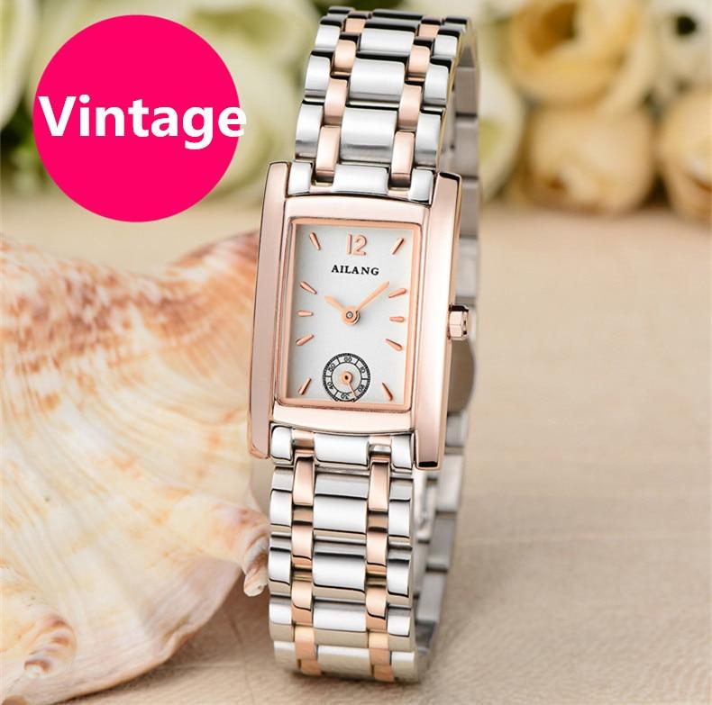 Vintage AILANG Moterų verslo suknelės laikrodžiai Kvarcinis plieninis stačiakampis rankinis laikrodis, veikiantis 3 rankas, analogiškas reljefams vandeniui NW8005