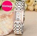 Vintage Classic Women Business Dress Watches Quartz Steel Rectangle Wristwatch 2 & Half Hands Analog Relojes Waterproof NW8005