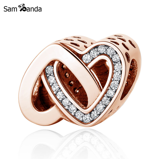 9557f6c69 Authentic 925 Sterling Silver Charm Bead Entwined Love Charms Rose Gold  Crystal 2 Colors Fit Pandora Bracelets Women DIY Jewelry-in Beads from  Jewelry ...