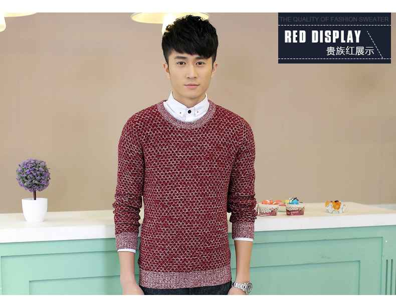 Tootless-Men Crew Neck Thickened Fashion Long Sleeve Slim Knit Sweater