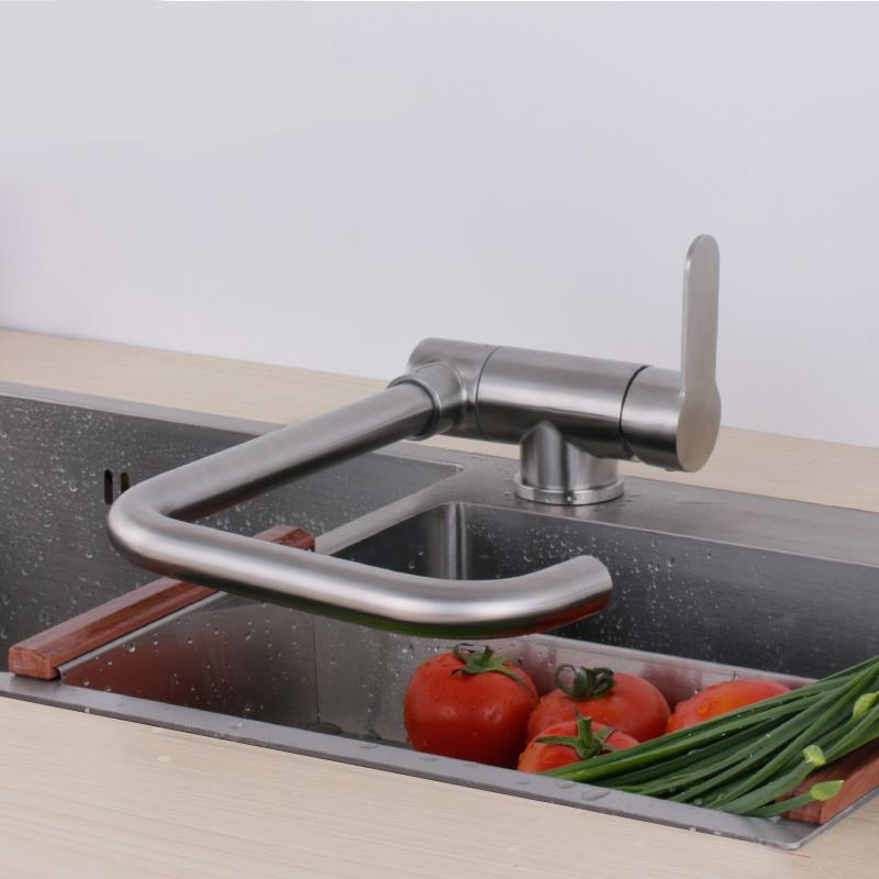 Can Lay Down Folding Kitchen Sink Faucet Mixer Hot And Cold Water Easy Open Window