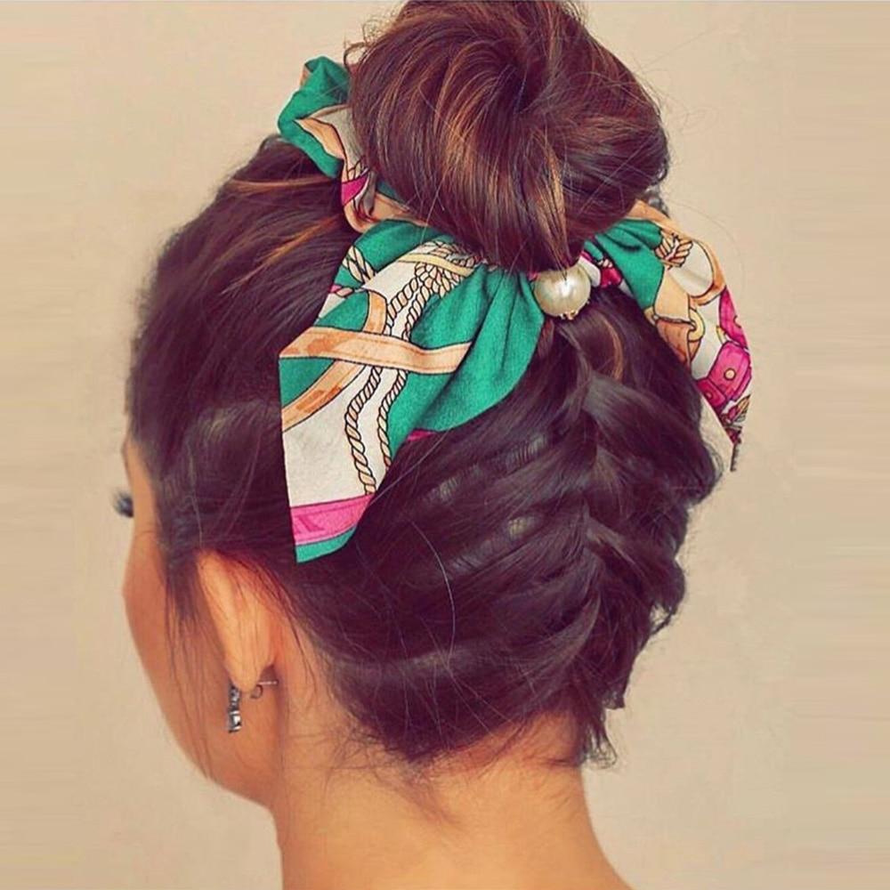 2019 Pearl Print Scrunchie Leopard Chiffon Hair Rope Elastic Hair Band Ponytail Holders Hair Ties Ribbon Women Hair Accessories