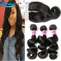 Malaysian Virgin Hair With Closure Loose Wave With Closure 3 Bundles With Closure Unprocessed Virgin Hair With Closure Bundles