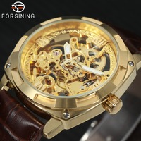 FORSINING Vintage Fashion Men Automatic Mechanical Watches Top Brand Luxury Leather Band Skeleton Golden Wristwatch Relogio
