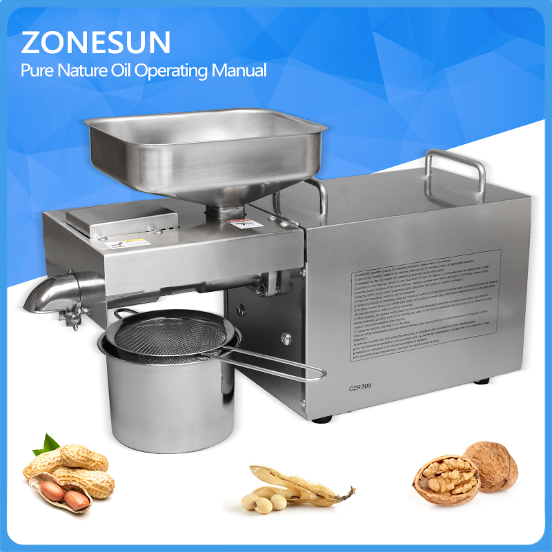 ZONESUN 1500W Stainless steel automatic small seed oil extraction machine cold oil press oil expeller mini oil press machine household oil press machine cold hot press for peanut small home automatic mini seed oil extraction machine eu stock