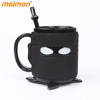 Cool Ninja Mug Black Mask Ceramic Tea Coffee Mug With Sword Spoon Shuriken Coaster for Office Home Drinking Novelty Gifts