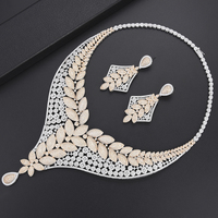 4 PCS Jewelry Sets Leaves Branch Collar Necklace Earrings Bangle Ring Set African Bridal Wedding Jewelry For Women Party