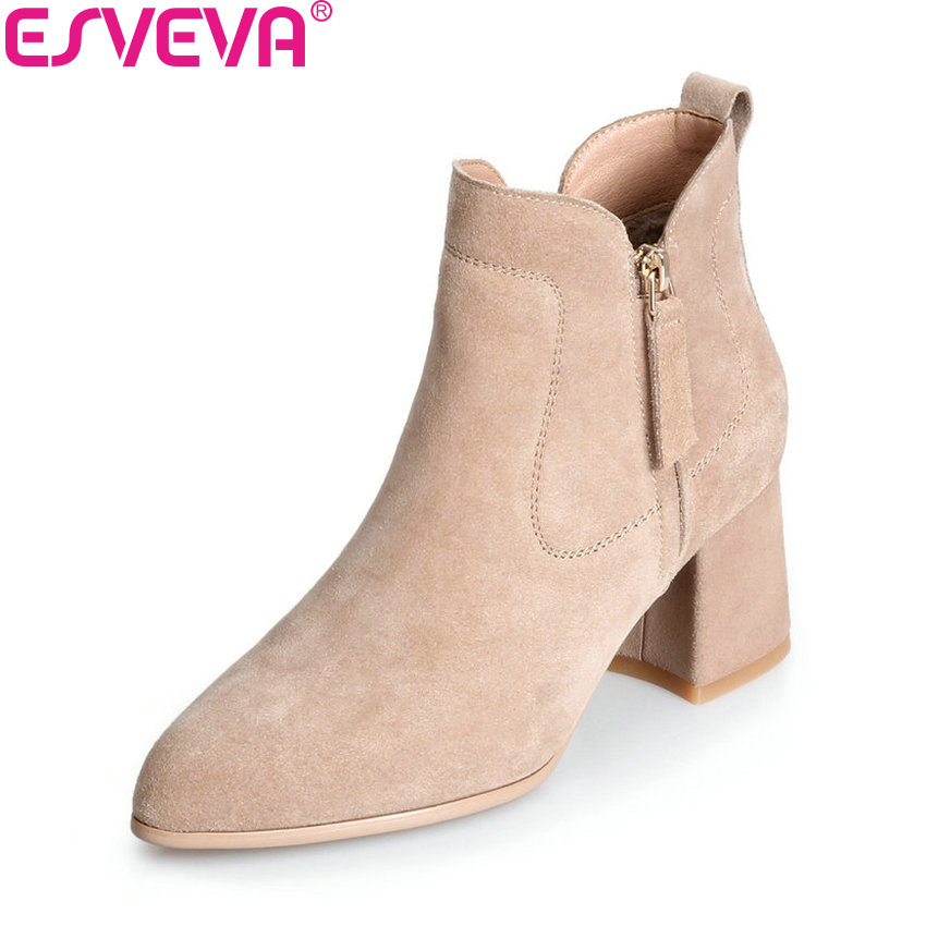 ESVEVA 2018 Women Boots Sweet Style Zippers Square High Heels Pointed Toe Ankle Boots Chunky Short Plush Ladies Shoes Size 34-39 esveva 2018 women boots zippers square high heels appointment warm fur pointed toe ankle boots chunky ladies shoes size 34 39
