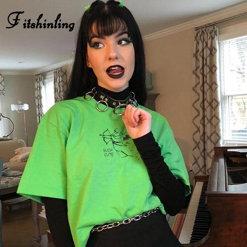 Fitshinling Harajuku Aesthetic T Shirt Women Clothing Fluorescence Neon Green Tee Shirt Femme Streetwear Tops Summer T Shirt New Dress Shirt Cheap T Shirts From Sunflowery 13 76 Dhgate Com
