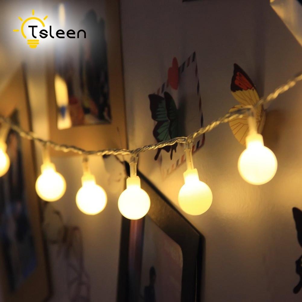 TSLEEN 110V/220V LED Ball String Lights Party Ball String Lamps Christmas Lights Fairy Wedding Garden Pendant Garland EU Plug