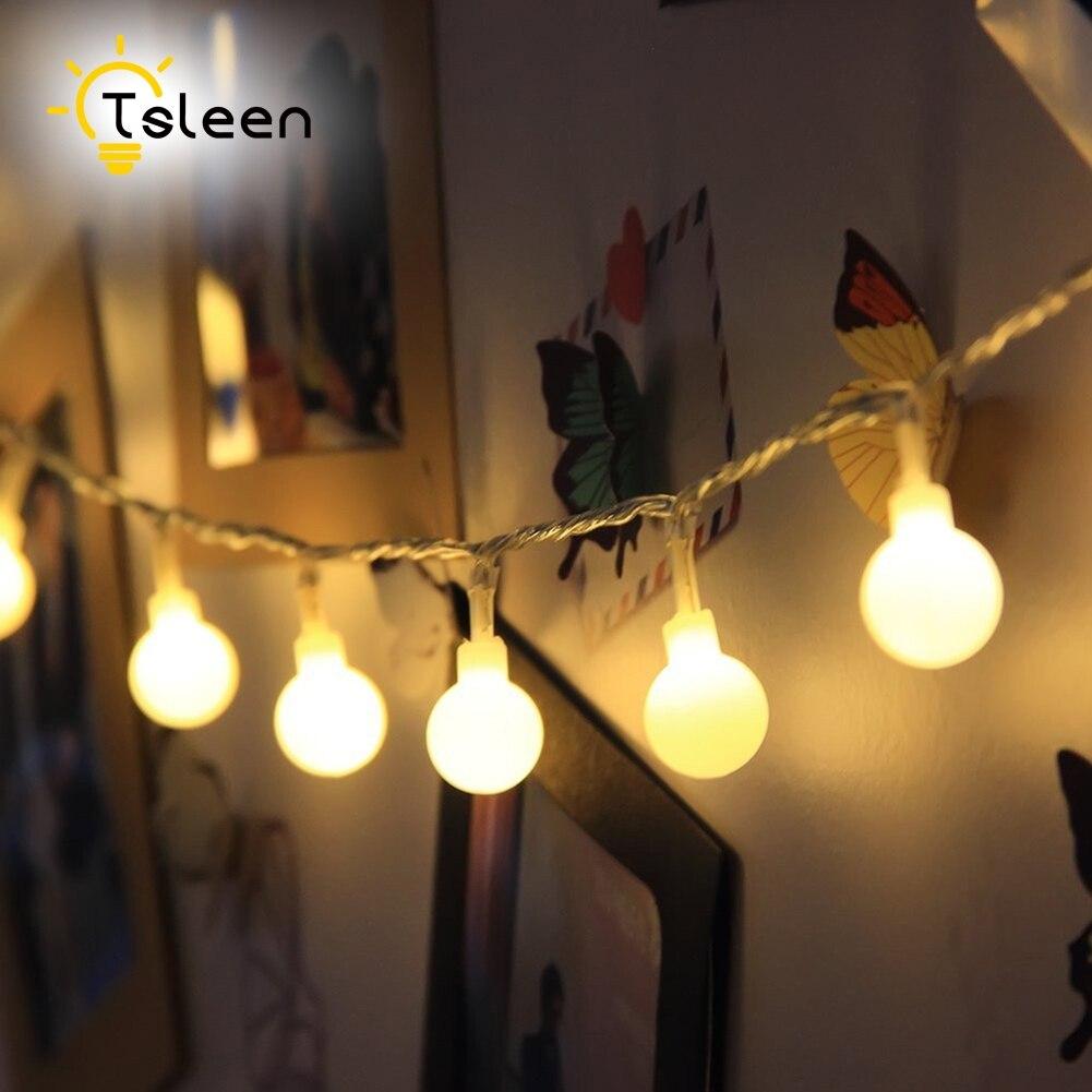 Tsleen 110 В/220 В светодиодный шар света строки Бальные строка Лампы для мотоциклов Рождество огни Фея Свадьба Сад кулон гирлянда ЕС Plug