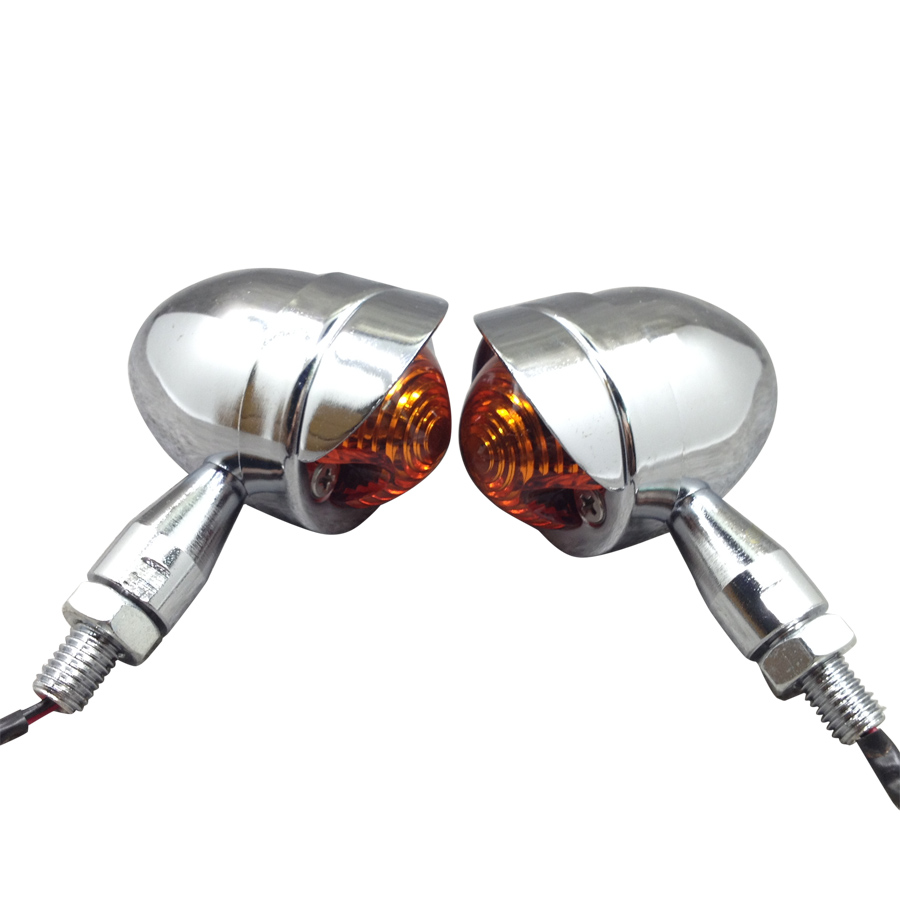 Yecnecty 2X Universal Chrome Motorcycle Light Turn Signal Indicator Bullet Steel Scooter Flashers For Suzuki Honda Yamaha Ducati