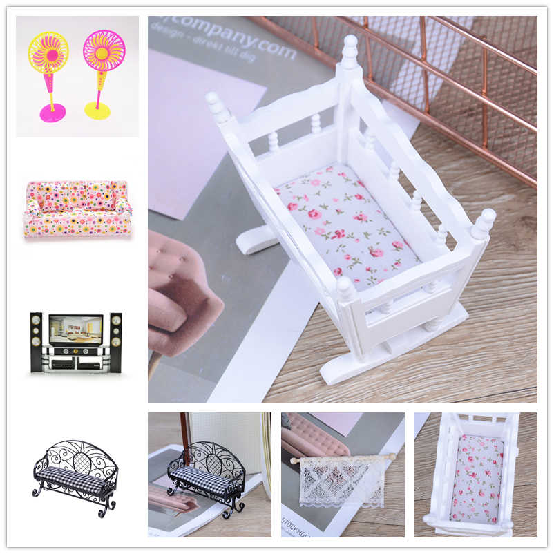Kids Play Toy Doll Furniture Simulation Miniature Double Sofa Chair Furniture Toys DollHouse Furniture bed Dolls Baby Room