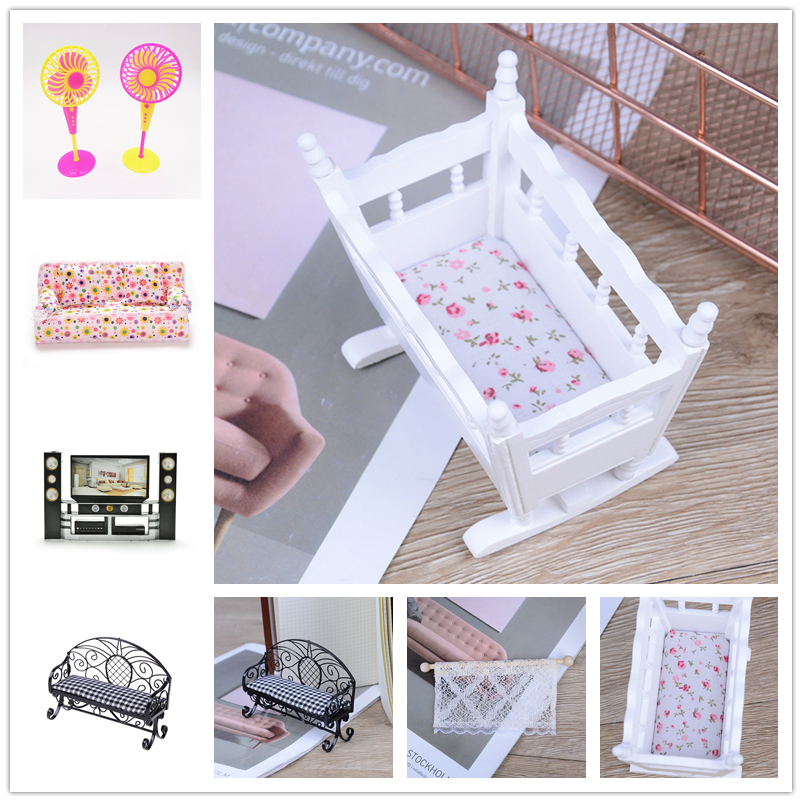 Kids Play Toy Doll Furniture Simulation Miniature Double Sofa Chair Furniture Toys DollHouse Furniture <font><b>bed</b></font> Dolls Baby Room image